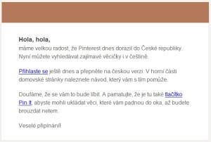 Mailové oznámení Pinterestu o novém jazyku